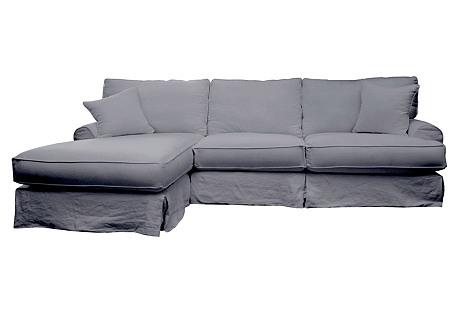 Carlie Slipcover Sectional, Gray Linen