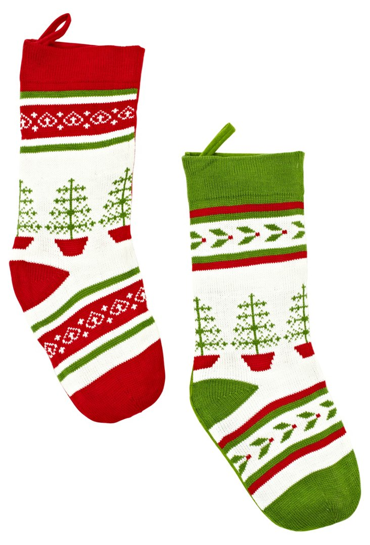 Holiday Tree Knit Stockings, Asst. of 2