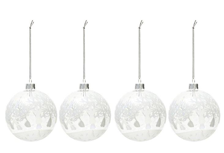 S/4 Glitter Wonderland Ornaments