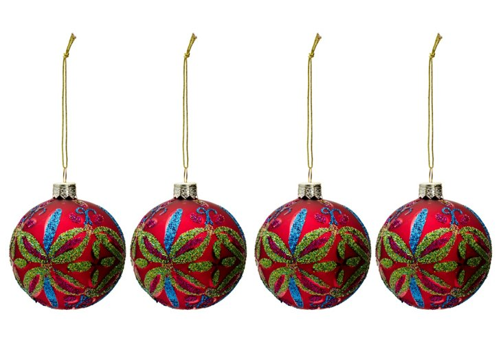 S/4 Glitter Berry Ornaments