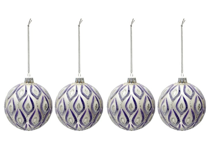 S/4 Glitter Flame Ornaments, Purple