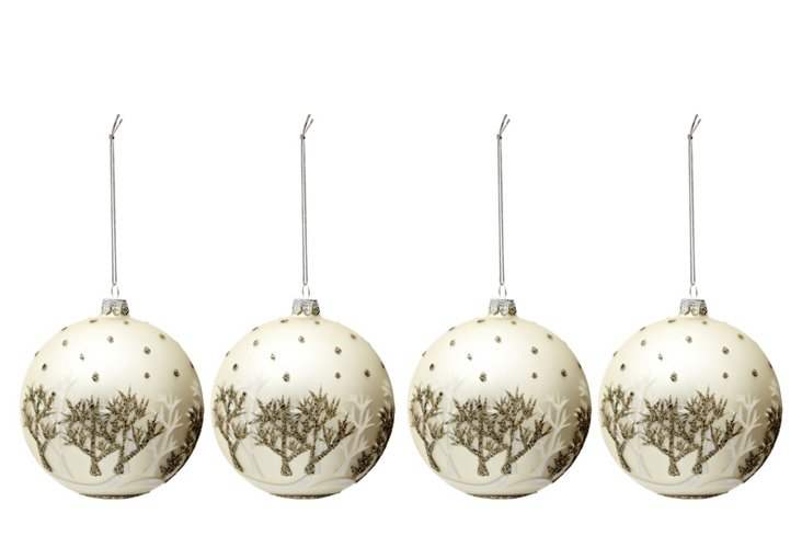 S/4 Glitter Snowy Forest Ornaments