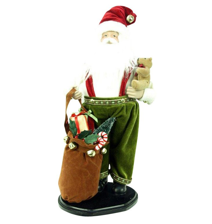 "18"" Santa on Stand w/ Gift Bundle"