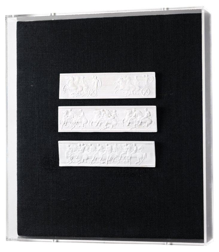 Intaglio Art, Acrylic Frames, 3 Bars I