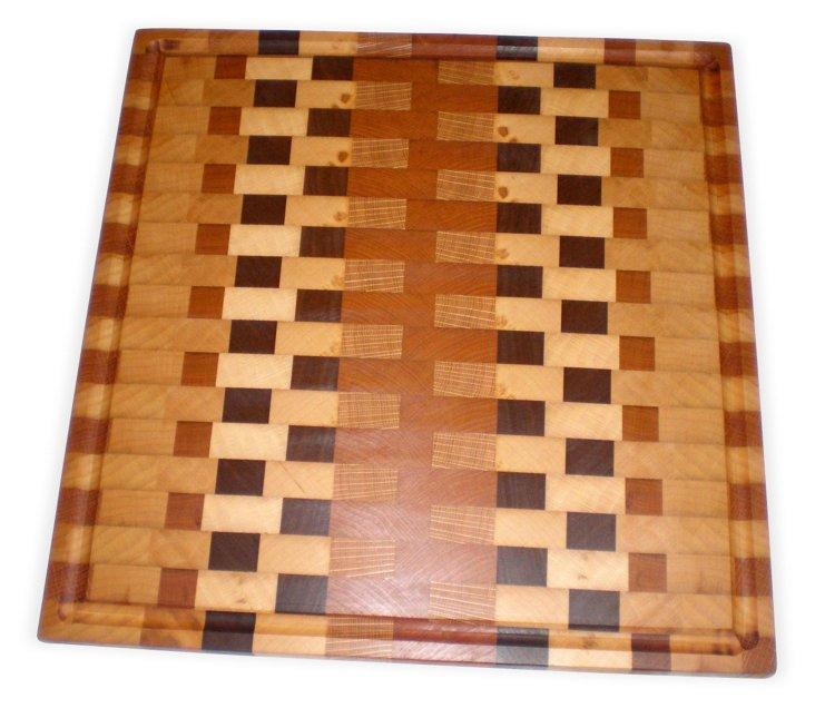 Mixed Hardwood Cutting Board w/ Groove