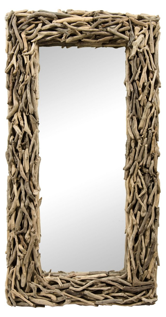 Large Vintage Rustic Driftwood Mirror