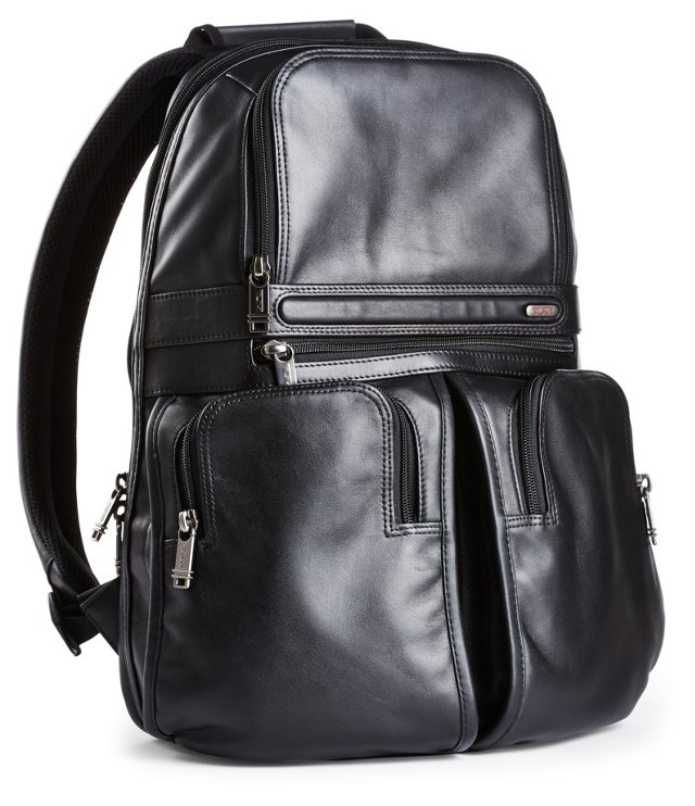 Compact Leather Backpack, Black