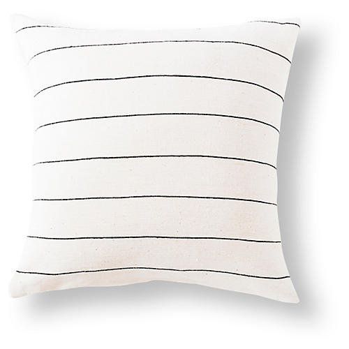 Selam 18x18 Cotton Pillow, Onyx/White