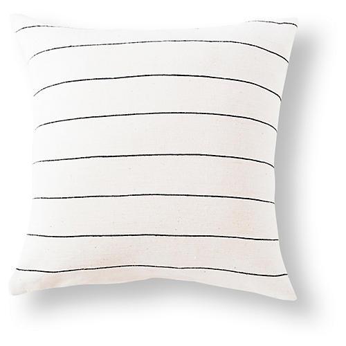Selam 18x18 Cotton Pillow, Onyx/White