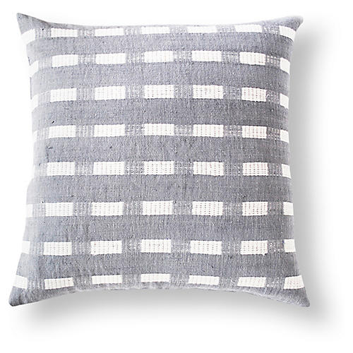 Berchi 20x20 Cotton Pillow, Gray/White