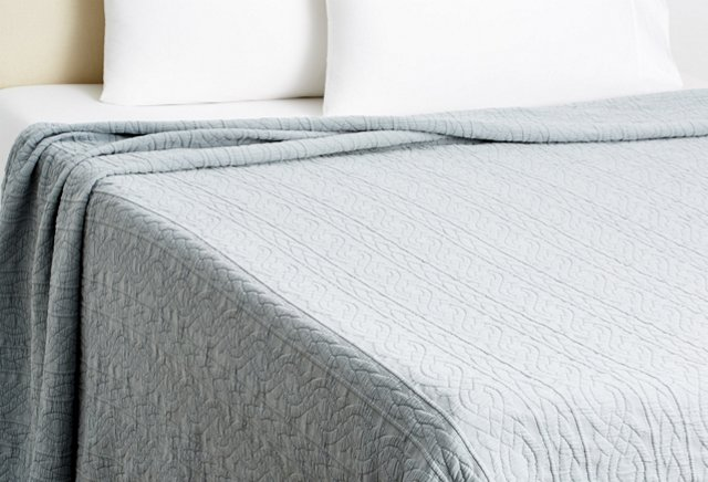 Cable Coverlet, Charcoal