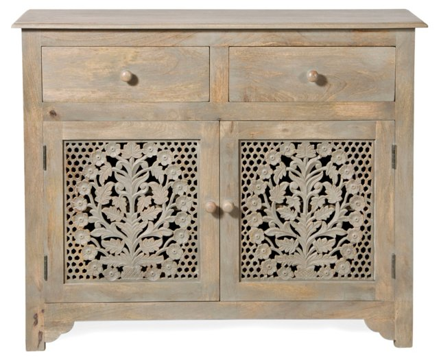 Martha Carved Sideboard, Distressed Gray