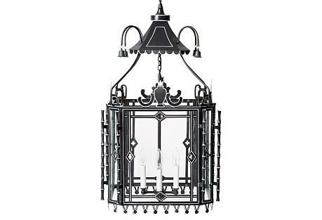 Chinese Pagoda Chandelier, Black