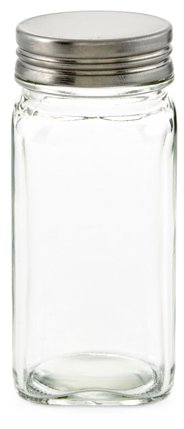 S/6 Square Glass Spice Bottles