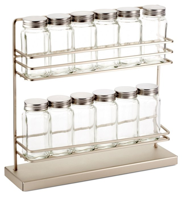 2-Tier Countertop Spice Rack w/ 12 Jars