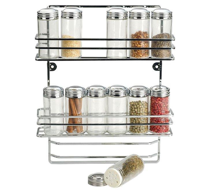 Hanging Spice Rack w/ 12 Jars