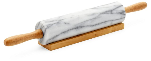 Marble Rolling Pin, White