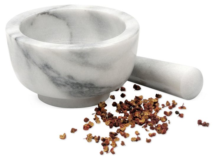 Marble Mortar & Pestle, White