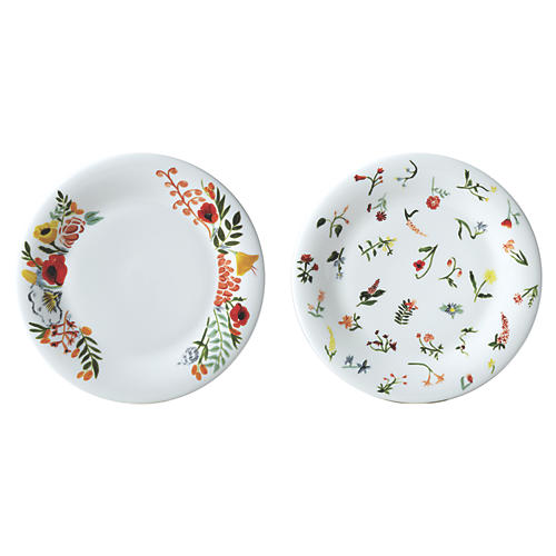 """S/2 Flowers Accent Plates, 8"""""""