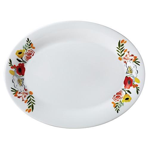 "14"" Flowers Oval Platter"