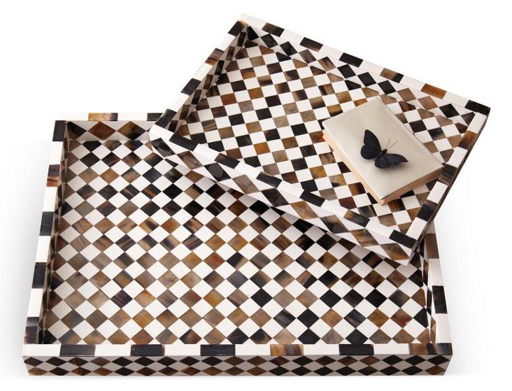 Asst. of 2 Diamond Mosaic Trays, Brown