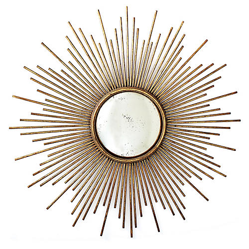 "Sunburst 40"" Antiqued Gold Wall Mirror"