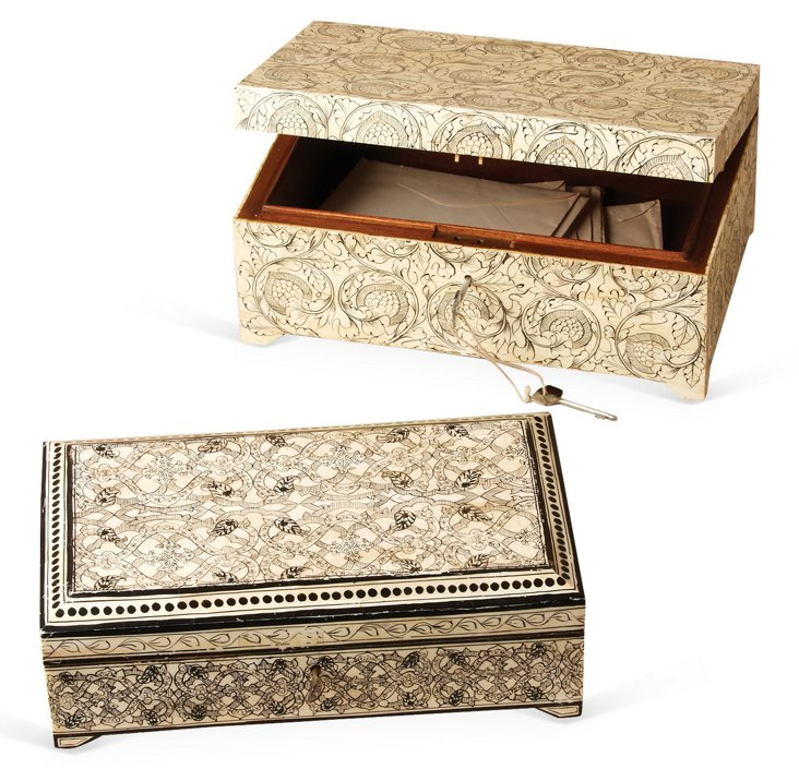 Asst. of 2 Bone Inlay Boxes