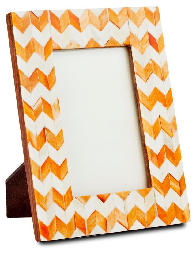 Herringbone Frame, 4x6, Orange