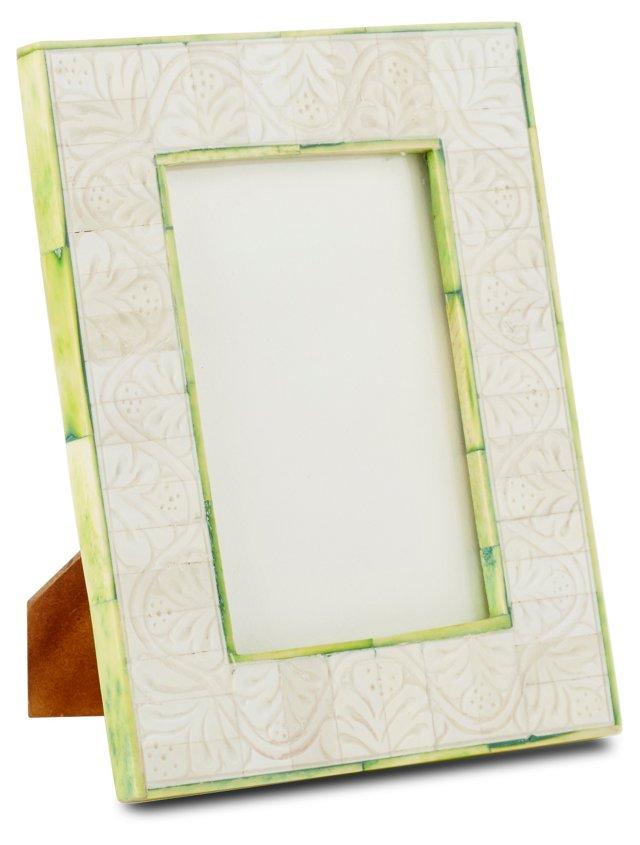 Carved Bone Frame, 4x6, Lime