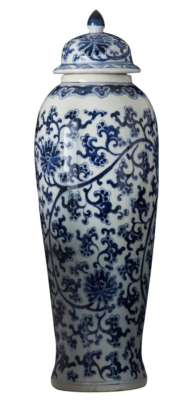 """23"""" Porcelain Lotus Temple Jar, Blue"""