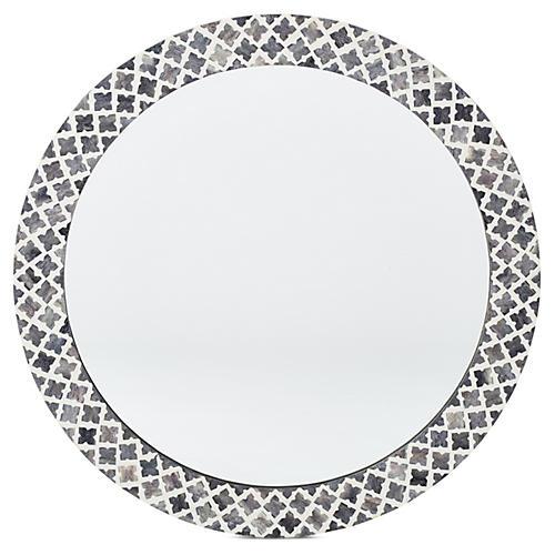 Quatrefoil Bone Wall Mirror, Slate
