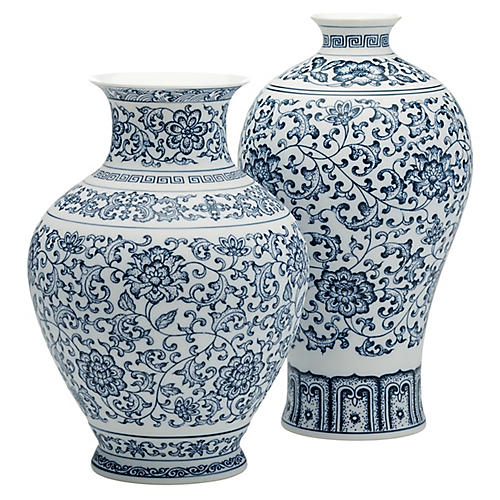 Asst. of 2 Addisyn Vases, Blue/White