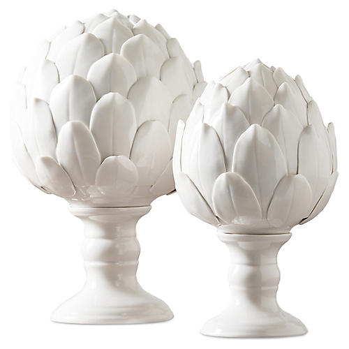 Asst. of 2 Artichoke Sculptures, White