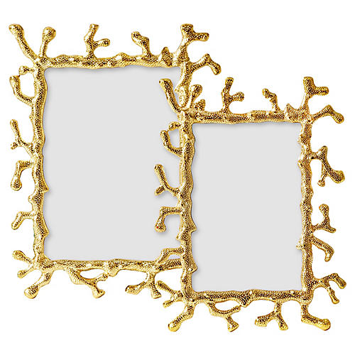Asst. of 2 Coral Frames, Gold