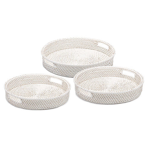 Asst. of 3 Elsa Round Serving Trays, White