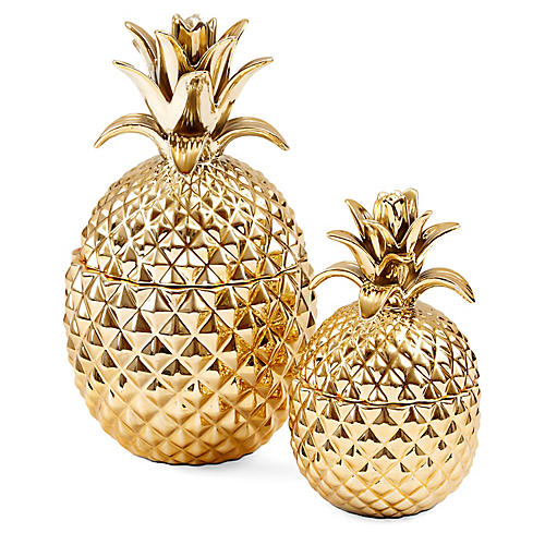Asst. of 2 Layla Pineapple Jars, Gold
