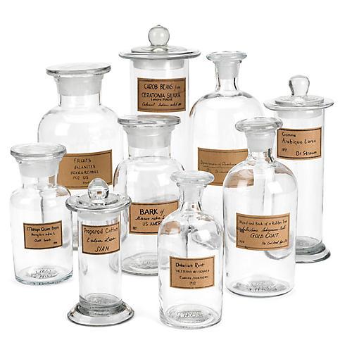 Asst. of 9 Noemi Jars, Clear/Antiqued Brown