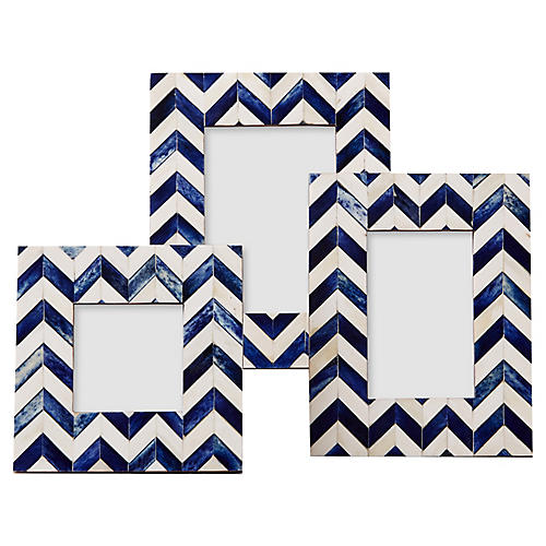 Asst. of 3 Siena Frames, Blue/Ivory