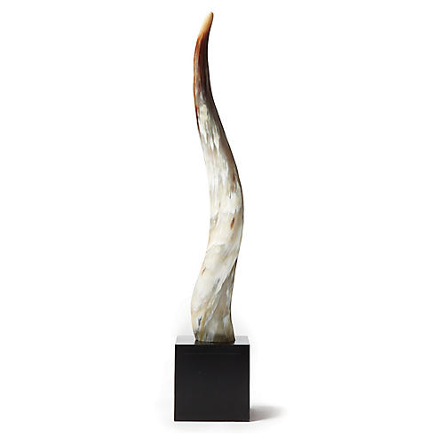 "28"" Yak Horn Statue, Natural/Black"