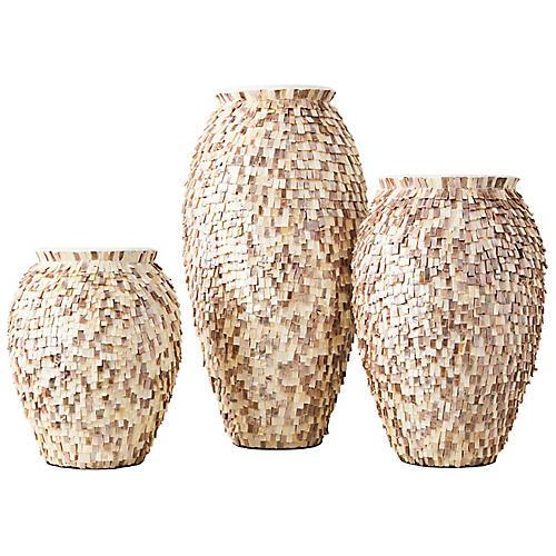 Asst. of 3 Shingle Vases, Cream/Multi