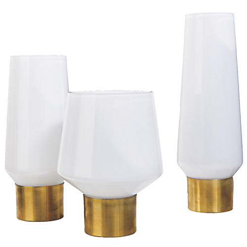Asst. of 3 Coval Vase Candleholders, White/Brass