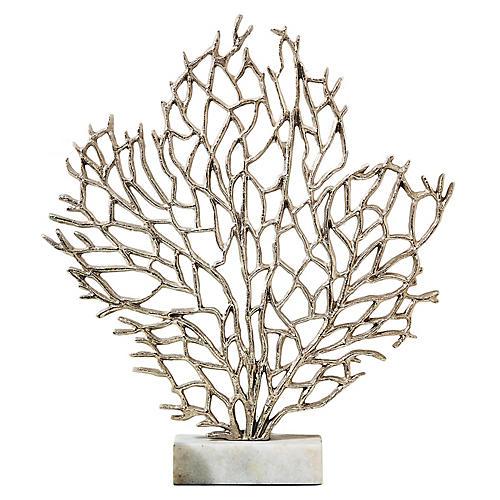 """23"""" Anguilla Coral Sculpture, Silver/White"""