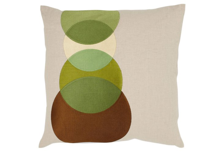 Dots Embroidered 20x20 Pillow, Green