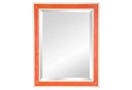 Preppy Wooden Mirror, Orange