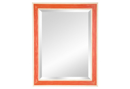 Preppy Wooden Mirror, Orange