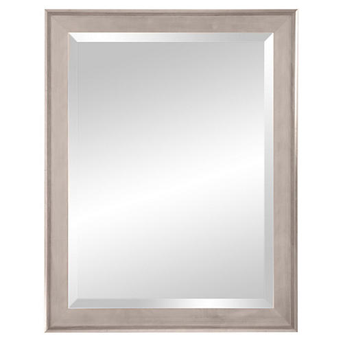 Classic Wooden Mirror, Silver