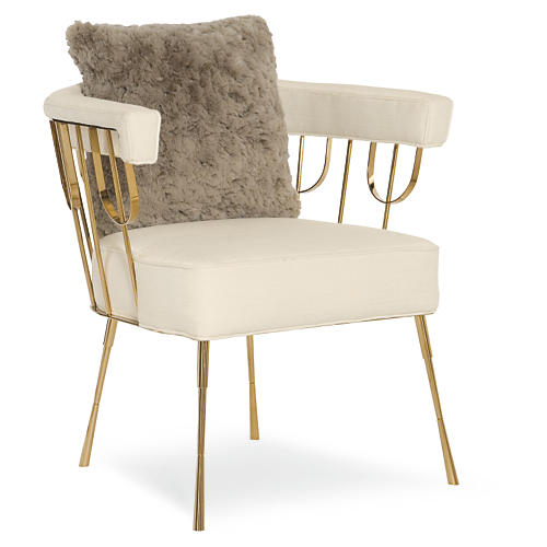 Lena Accent Chair, Cream