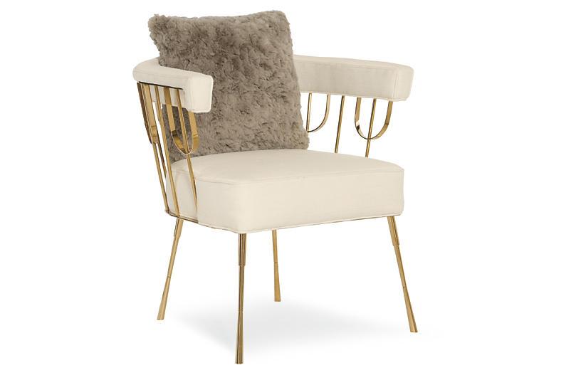 Lena Accent Chair - Cream - Caracole