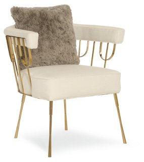 Lena Accent Chair, Cream   Accent Chairs   Chairs   Living Room   Furniture  | One Kings Lane