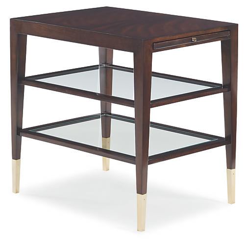 Italian Mirrored Side Table, Espresso